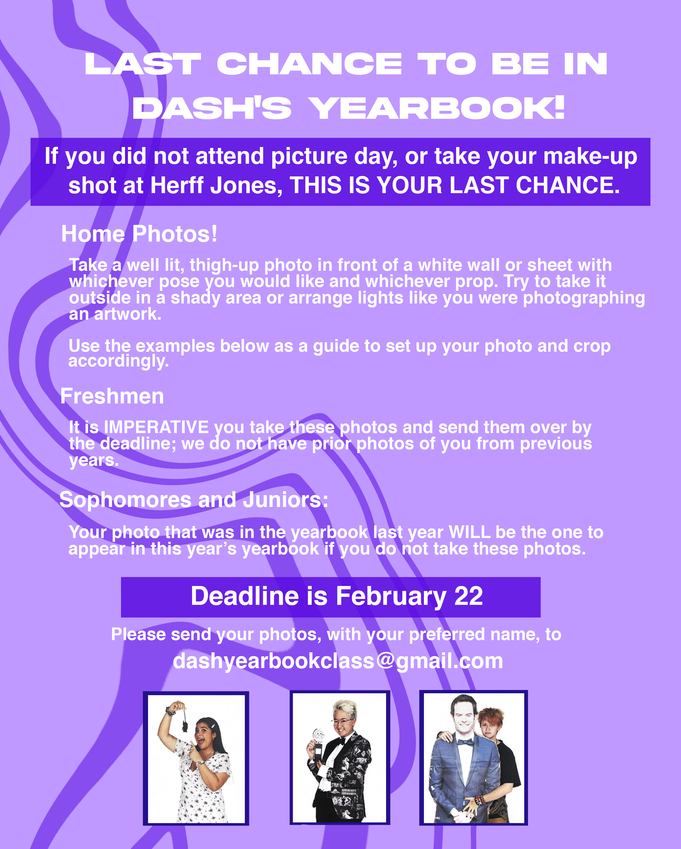 Last chance to be in DASH's yearbook!